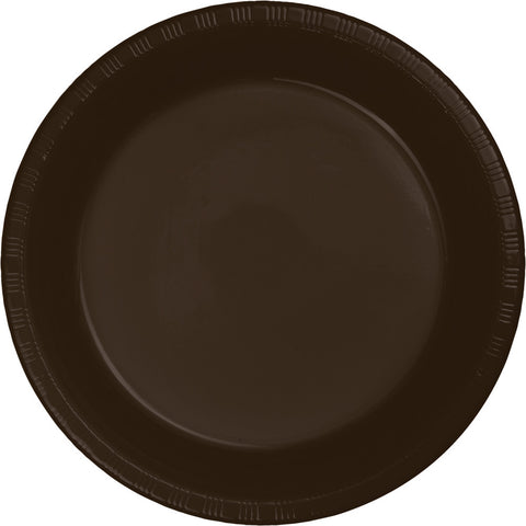 "Brown Bulk Party Plastic Lunch Plates 7"" (240/Case)-Solid Color Party Tableware-Creative Converting-240-"
