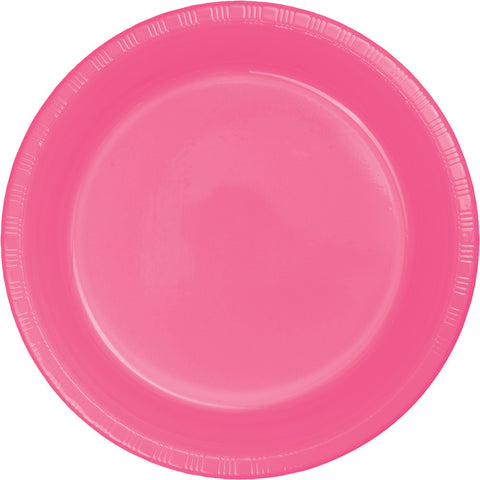 "Candy Pink Bulk Party Plastic Lunch Plates 7"" (240/Case)"