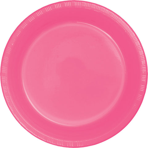"Candy Pink Bulk Party Plastic Banquet Dinner Plates 10.25"" (240/Case)-Solid Color Party Tableware-Creative Converting-240-"