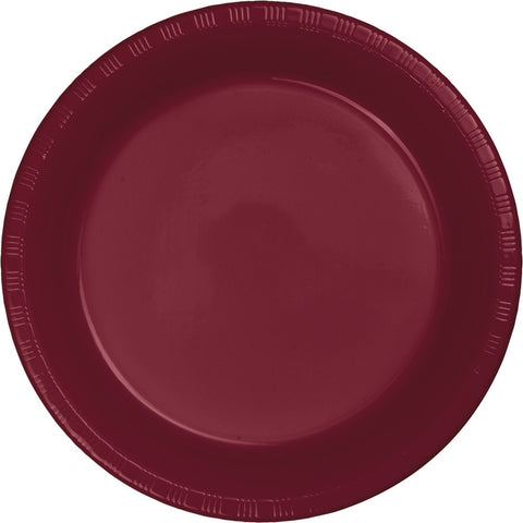 "Burgundy Bulk Party Plastic Dinner Plates 9"" (240/Case)"