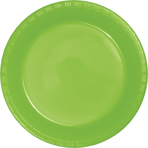 "Lime Green Bulk Party Plastic Dinner Plates 9"" (240/Case)-Solid Color Party Tableware-Creative Converting-240-"