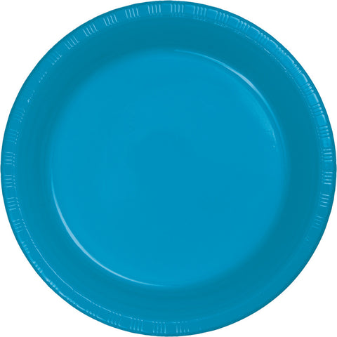 "Turquoise Bulk Party Plastic Dinner Plates 9"" (240/Case)-Solid Color Party Tableware-Creative Converting-240-"