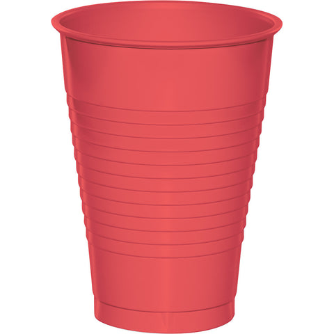 Coral Bulk Party Plastic Cups 12 oz. (240/Case)-Solid Color Party Tableware-Creative Converting-240-