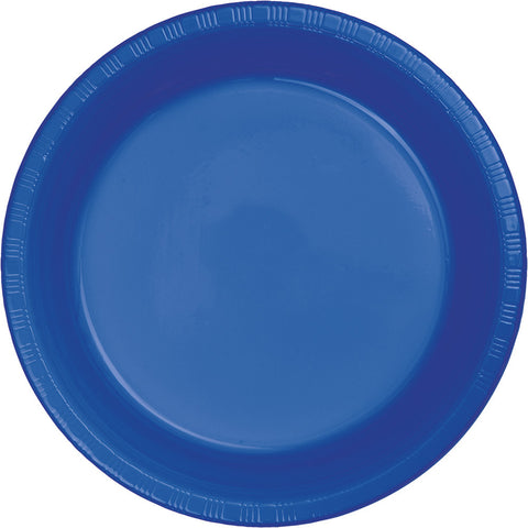 "Cobalt Blue Bulk Party Plastic Lunch Plates 7"" (240/Case)-Solid Color Party Tableware-Creative Converting-240-"