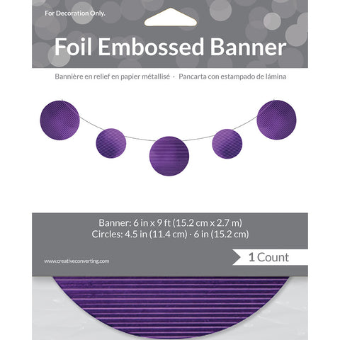 Purple Bulk Party Foil Embossed Banner 9 ft. Decorations