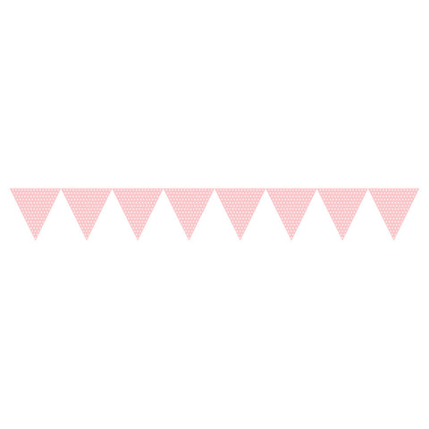 Pink Bulk Party Polka Dot Paper Flag Banners 9 ft. Decorations
