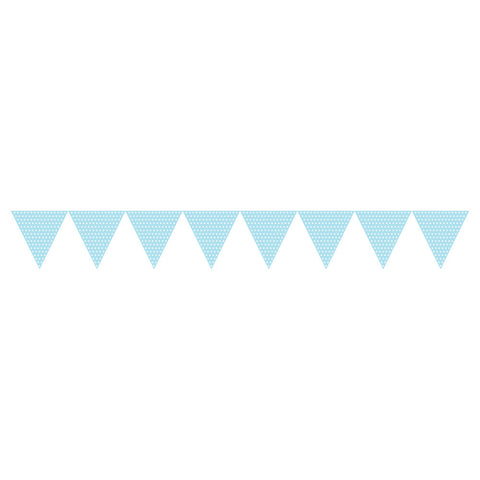 Pastel Baby Baby Blue Bulk Party Polka Dot Paper Flag Banners 9 ft. Decorations