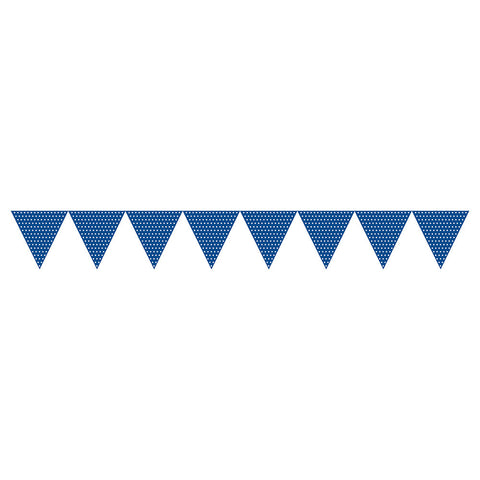 Blue Bulk Party Polka Dot Paper Flag Banners 9 ft. Decorations