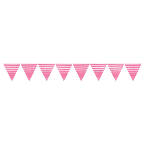 Candy Pink Bulk Party Polka Dot Paper Flag Banners 9 ft. Decorations-Bulk Party Decorations-Creative Converting-6-