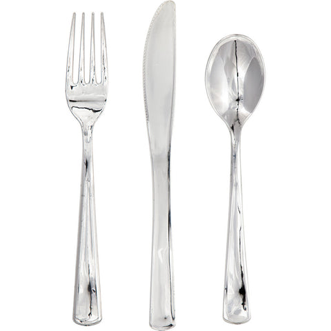 Metallic Silver Bulk Party Utensils Assorted Cutlery