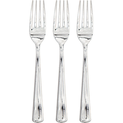 Metallic Silver Bulk Party Forks-Solid Color Party Tableware-Creative Converting-288-