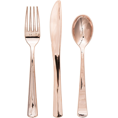 Metallic Rose Gold Bulk Party Utensils Assorted Cutlery