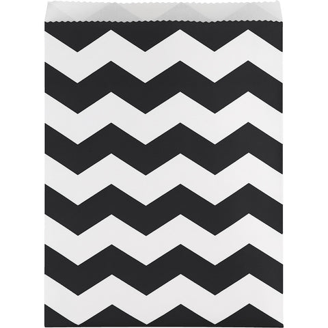 Black Bulk Party Chevron Paper Treat Bags Large-Disposable Catering Supplies-Creative Converting-120-