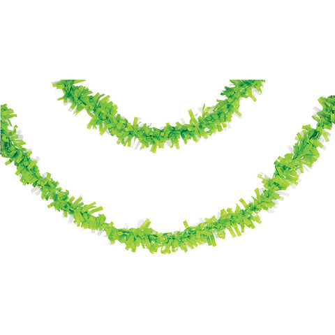 Lime Green Bulk Party Tissue Garland Decorations, 25 ft.