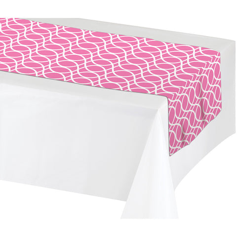 "Pink Disposable Catering Table Runners 14"" x 84"""