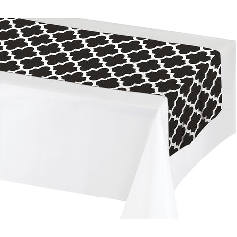 "Black Disposable Catering Table Runners 14"" x 84"""