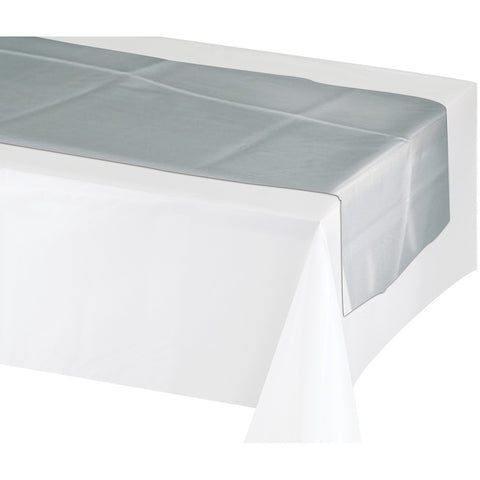 "Silver Disposable Catering Table Runners 14"" x 84"""