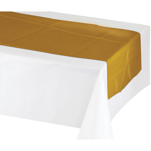 "Gold Disposable Catering Table Runners 14"" x 84"""