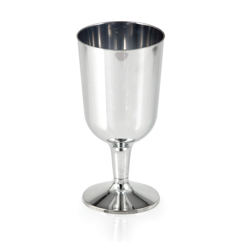 Metallic Silver Disposable Catering Wine Goblets Case 6 oz