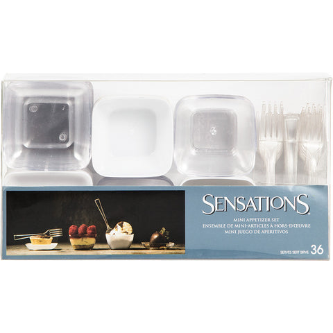 Clear/White Mini Disposable Appetizer Sets-Disposable Catering Supplies-Creative Converting-864-