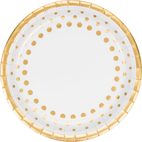 Gold Foil Bulk Party Dinner Plates-Solid Color Party Tableware-Creative Converting-96-