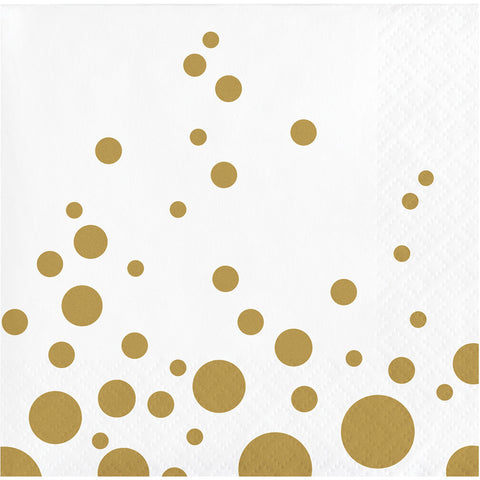 Gold Polka Dot Bulk Party Beverage Napkins