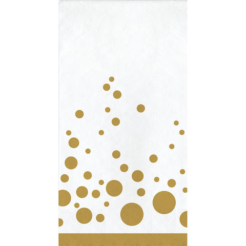 Gold Polka Dot Bulk Party Guest Towel Napkins