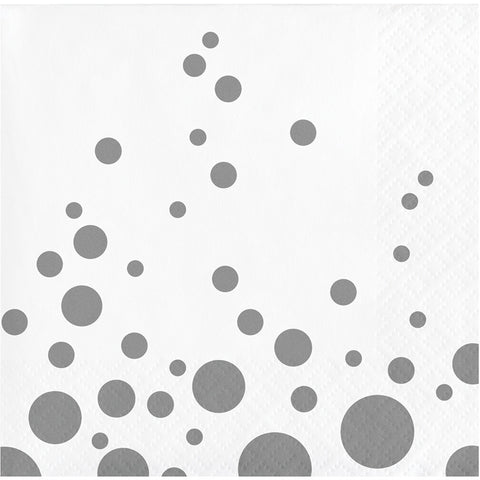 Silver Polka Dot Bulk Party Beverage Napkins