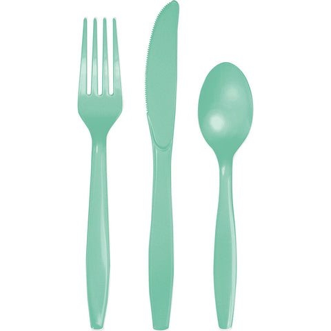 Mint Green Bulk Party Plastic Cutlery Forks, Knives, Spoons (288/Case)-Solid Color Party Tableware-Creative Converting-288-