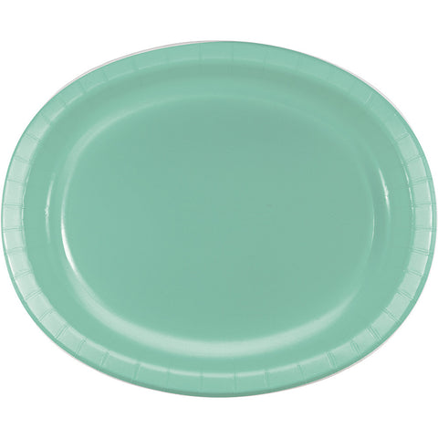"Mint Green Bulk Party Oval Paper Plates 10"" x 12"" (96/Case)"