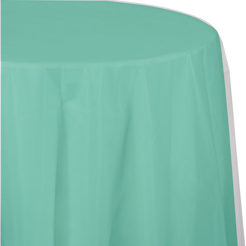 "Mint Green Bulk Party Round Plastic Tablecovers 82"" (12/Case)-Solid Color Party Tableware-Creative Converting-12-"
