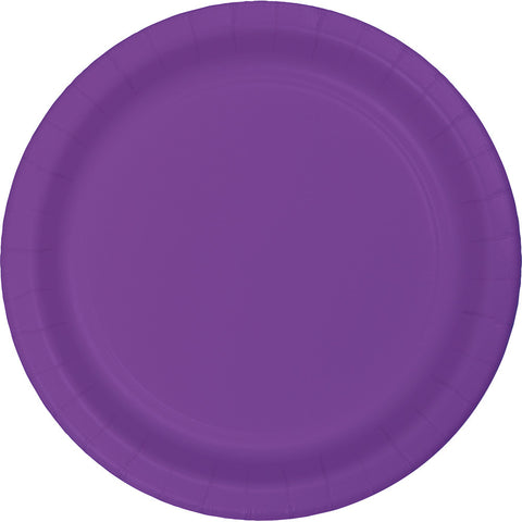 "Amethyst Purple Bulk Party Plastic Lunch Plates 7"" (240/Case)-Solid Color Party Tableware-Creative Converting-240-"