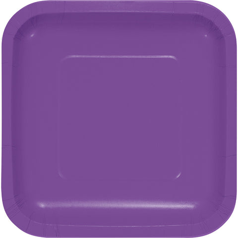 "Amethyst Purple Bulk Party Square Paper Lunch Plates 7"" (180/Case)-Solid Color Party Tableware-Creative Converting-180-"