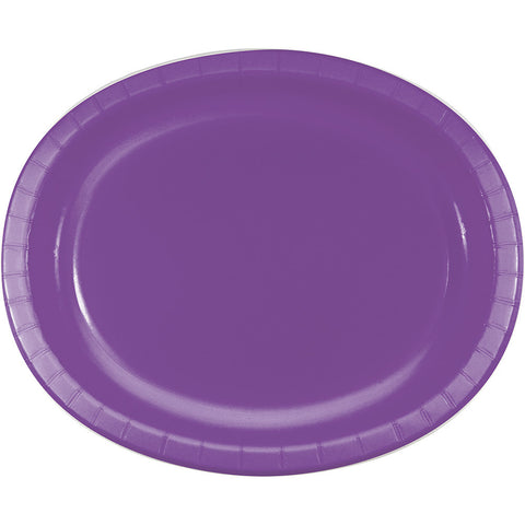 "Amethyst Purple Bulk Party Oval Paper Plates 10"" x 12"" (96/Case)-Solid Color Party Tableware-Creative Converting-96-"