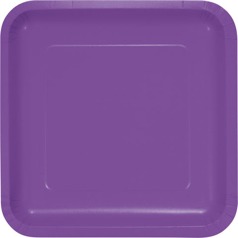 "Amethyst Purple Bulk Party Square Paper Dinner Plates 9"" (180/Case)"