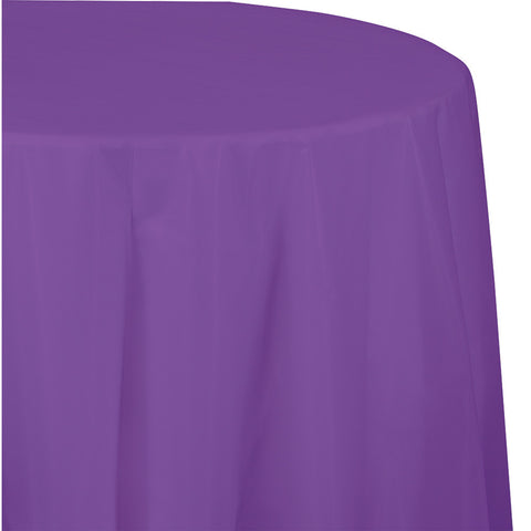 "Amethyst Purple Bulk Party Round Plastic Tablecovers 82"" (12/Case)"