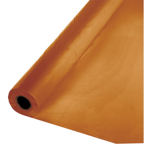 "Pumpkin Spice Orange Bulk Party Plastic Tablecloth Rolls 40"" x 100' (1/Case)"