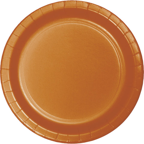 "Pumpkin Spice Orange Bulk Party Paper Lunch Plates 7"" (240/Case)"