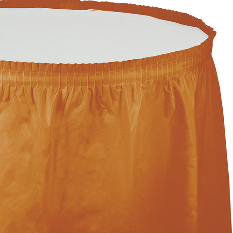 "Pumpkin Spice Orange Bulk Party Tableskirts, 14' x 29"" (6/Case)-Solid Color Party Tableware-Creative Converting-6-"