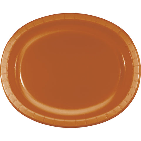 "Pumpkin Spice Orange Bulk Party Oval Paper Plates 10"" x 12"" (96/Case)-Solid Color Party Tableware-Creative Converting-96-"