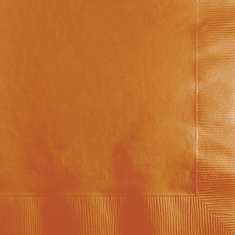 Pumpkin Spice Orange Bulk Party 3 Ply Beverage Napkins (500/Case)