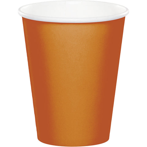 Pumpkin Spice Orange Bulk Party Hot/Cold Paper Cups 9 oz. (240/Case)-Solid Color Party Tableware-Creative Converting-240-