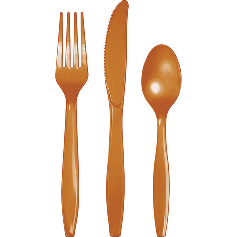 Pumpkin Spice Orange Bulk Party Plastic Cutlery Forks, Knives, Spoons (288/Case)