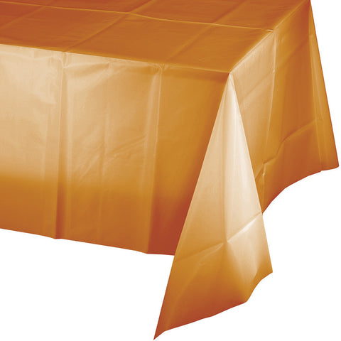 "Pumpkin Spice Orange Bulk Party Plastic Tablecovers 54"" x 108"" (12/Case)-Solid Color Party Tableware-Creative Converting-12-"