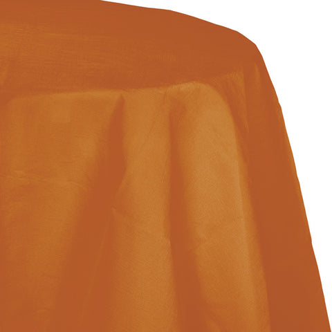 "Pumpkin Spice Orange Bulk Party Round Paper Tablecovers 82"" (12/Case)-Solid Color Party Tableware-Creative Converting-12-"