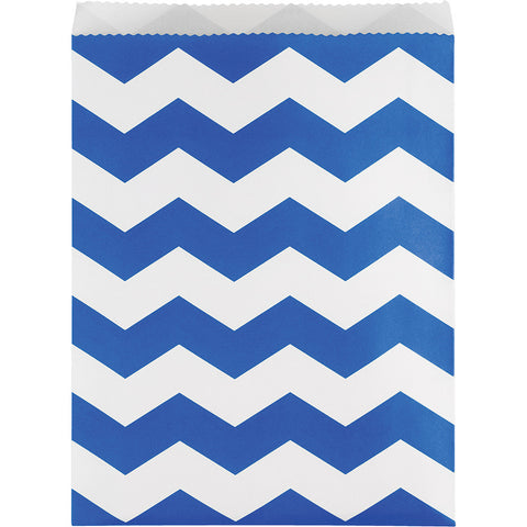 Cobalt Blue Bulk Party Chevron Paper Treat Bags Large