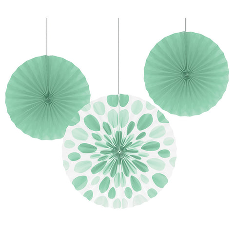 Mint Bulk Party Hanging Paper Fans Decoration Kits-Bulk Party Decorations-Creative Converting-18-
