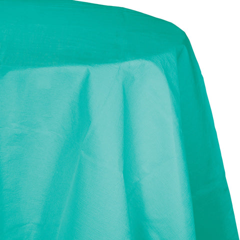 "Teal Bulk Party Round Plastic Tablecovers 82"" (12/Case)-Solid Color Party Tableware-Creative Converting-12-"