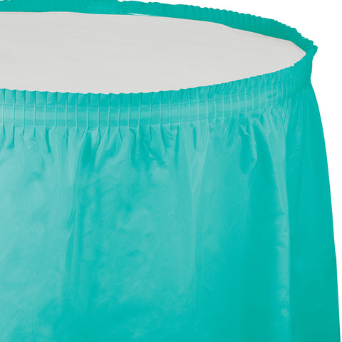 "Teal Bulk Party Tableskirts, 14' x 29"" (6/Case)-Solid Color Party Tableware-Creative Converting-6-"