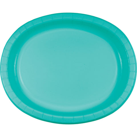 "Teal Bulk Party Oval Paper Plates 10"" x 12"" (96/Case)-Solid Color Party Tableware-Creative Converting-96-"